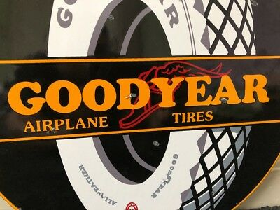 "Vintage Goodyear Airplane Tires 11 3/4"" Porcelain Metal Gas Oil Sign Winged Foot"