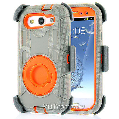 Rugged Hybrid Hard Cover Shockproof Clip Case for Samsung Galaxy S3 S III i9300
