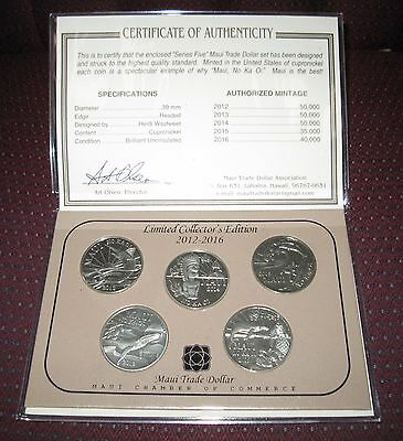 """COMPLETE """"Series 5"""" 2012-2016 MAUI TRADE DOLLARS - 5 Coin Set w/Collector Cert"""