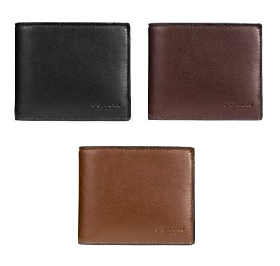 Coach F74991 Men's Compact ID Leather Wallet Black/Mahogany/Dark Saddle $175