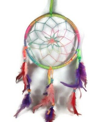 """6.5"""" Multi-color Dream Catcher With Beads & Feathers Wall Or Car Decoration"""