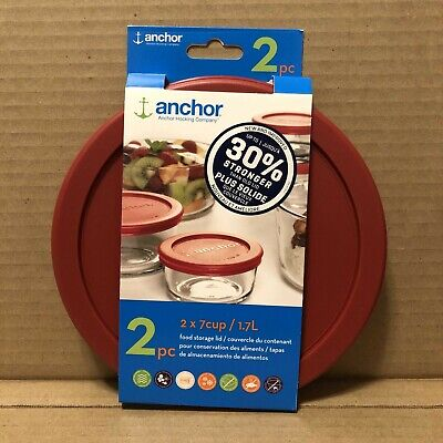 Anchor Hocking 2 x 7cup / 1.7L Food Storage Lid 2 pc Red Replacement Cover