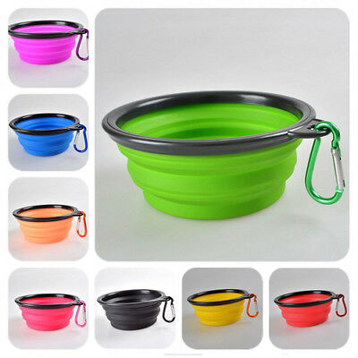 Portable Pet Dog Food Drink Collapsible Bowl Travel Camping Lightweight Plate FT