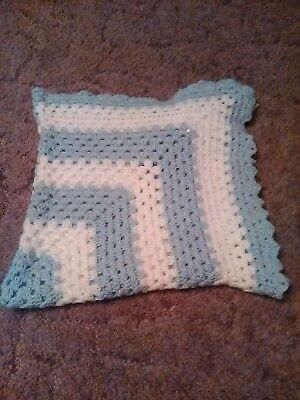 Vintage Blue Crochet Baby Blanket. From The 1980's.