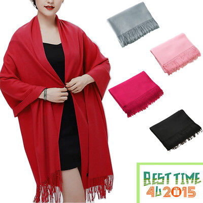 Fashion Women Winter Warm Cashmere Silk Solid Long Pashmina Shawl Wrap Scarf