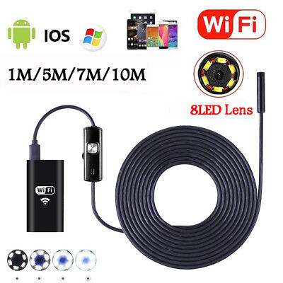 8LED Wireless Endoscope WiFi Borescope Inspection HD Camera for Android iPhones