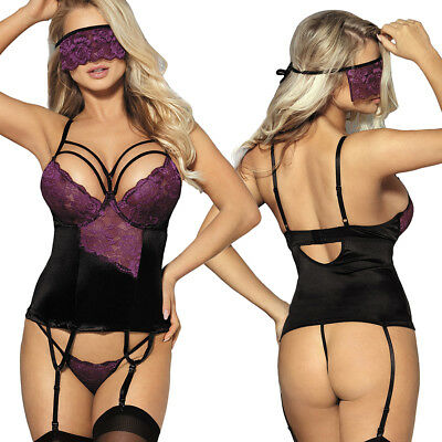 Sexy New Plus Size 3PC Garter Babydoll Chemise Blind Fold Intimate Lingerie Set
