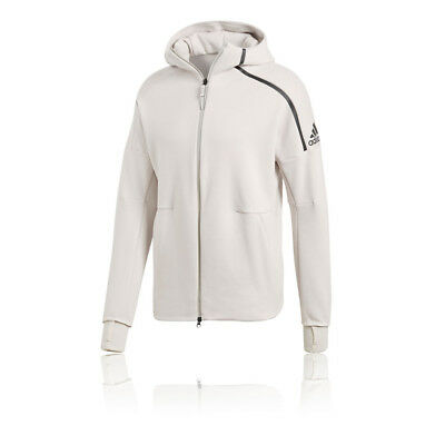 adidas Mens ZNE Hoodie 2 Grey White Sports Gym Full Zip Hooded Breathable