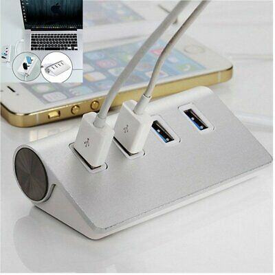 US 4-Port USB 2.0 Multi HUB Splitter Aluminum Adapter High Speed for PC Laptop