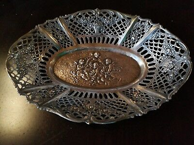 antique 20th C German solid 800 silver reticulated Pierced repousse bowl cherubs