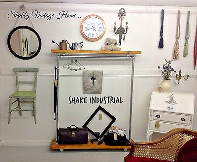 mobile wardrobe clothes rail bespoke industrial vintage style shop, Design ideen