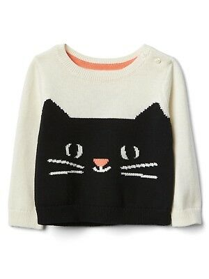e295cf9ec81bd GAP BABY GIRLS Kitty Cat Crew Knit Sweater Front Back Detail NEW 3 6 ...
