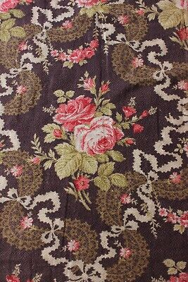 Antique French Or American Roses, Ribbons, Bows&Lace Printed Cotton Fabric c1880