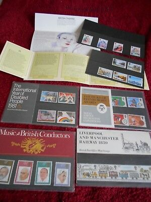 British Post Office Mint Stamps. 6 Packs in Presentation card cases with books