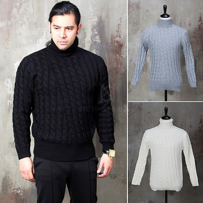 e93d4f4cea41 NewStylish Mens Fashion Tee Top Twisted Pattern Turtle Neck Knit Sweater