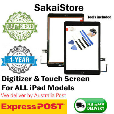 For iPad 3 4 Mini 1 2 Front Screen Glass Replacement Digitizer Cable+IC+Home