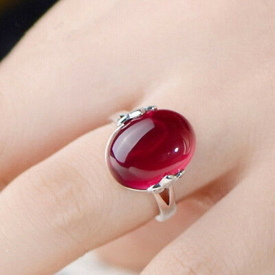 Wholesale Beautiful Thai silver wholesale hollow carved red jade ring just new