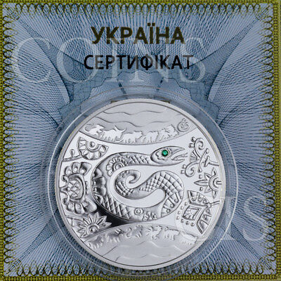 Ukraine 2013 5 UAH Lunar Year of the Snake Proof Silver Coin with Zirconium