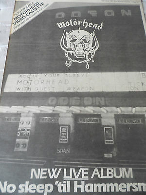 "Motorhead ""no Sleep Till Hammersmith"" 1981 Album  Advert From Ace Tour 1980"