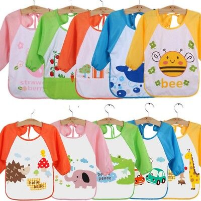 Cute Baby Boy Girls Waterproof Long Sleeve Bibs Children Feeding Smock Apron New