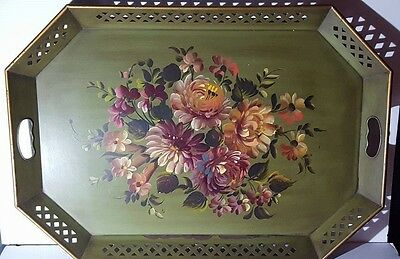 "LARGE VINTAGE RETICULATED TOLEWARE TRAY PINK ROSES on GREEN 26 1/2""  x 18 1/2"""