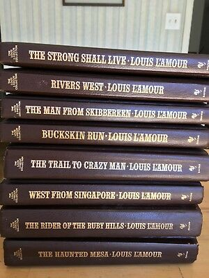 8 Louis L'amour Leatherbound Books, Westerns from the 70's and 80's