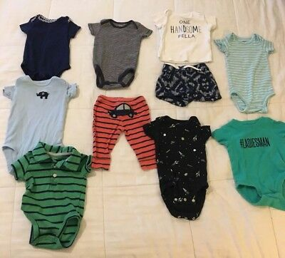 Mixed Lot Of 10 Infant Boys Clothes Sz 3 Mos By Carter's - Great Used Condition!
