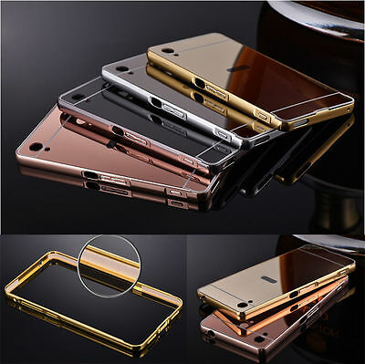 NEW Luxury Mirror Back Cover + Metal Aluminum Frame Case For Sony Xperia Phones