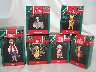 6 Hallmark Winnie the Pooh Keepsake Collection Ornaments with Original Boxes