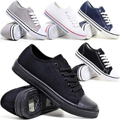Kids Childrens Boys Girls Canvas Casual Shoes Pumps Trainers Lace Up Plimsolls