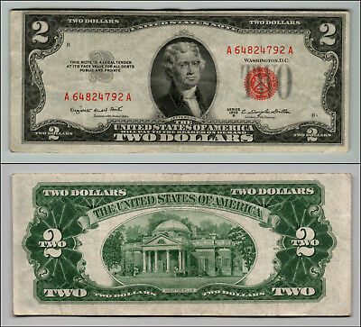 (1)-1953B  Series United States Note Red Seal $2 Two Dollar Bill  LT Z193