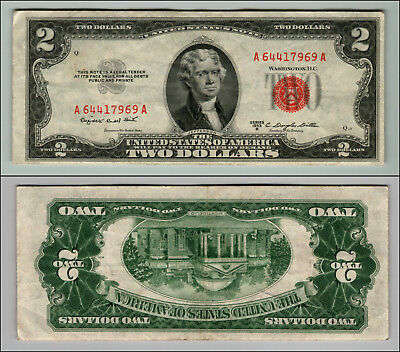 (1)-1953B  Series United States Note Red Seal $2 Two Dollar Bill  LOT P70