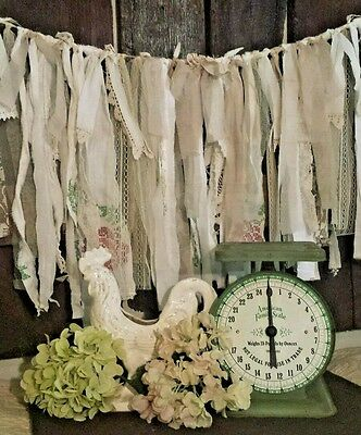 5 ft photo prop fabric garland Shabby farmhouse Wedding country lace vtg roses