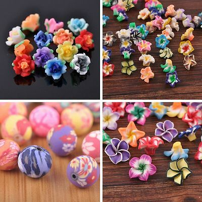 Bulk Wholesale 10pcs 6~33mm Polymer Clay Loose Spacer Beads Jewelry Making
