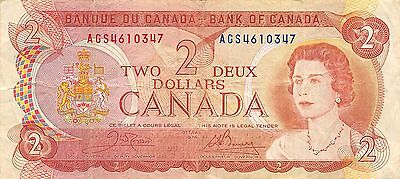 Canada  $2  1974  Series  AGS  Que. II  Circulated Banknote