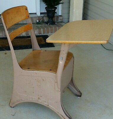 Vintage Kids Solid Wood and Metal School Desk Elementary NO WOBBLE Childs Old