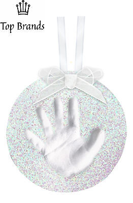 Pearhead Babyprints Round Ornament, Glitter White