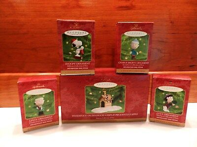 Hallmark Ornament 2000 Snoopy Christmas Set of 5 for Peanuts 50th Anniversary, a