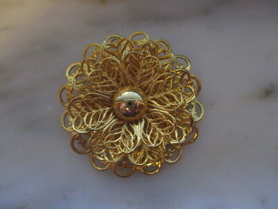 Gold Tone Flower Scarf Clip