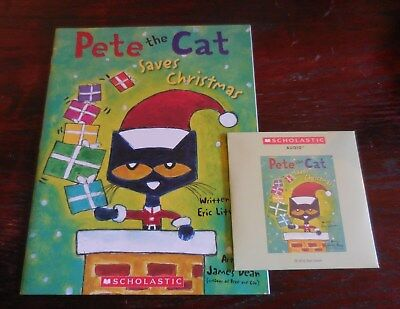Pete the Cat Saves Christmas E. Litwin New Scholastic Listening Book Set with CD