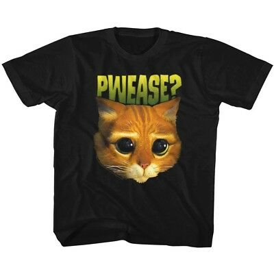 Shrek Puss In Boots Cat Face Pwease Kids Movie Youth T Shirt 2T-YXL