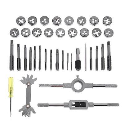 40pcs Metric Tap and Die Set M3-M12 T-Handle Wrench Screw Pitch Gauge Hand Tool