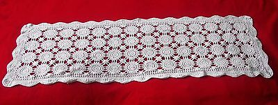 "Crochet Lace Table Runner Medallion Design White Cotton 40"" X 12 1/2"""
