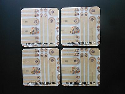 """LOT OF (4)  """"BEER COASTERS """"PABST BLUE RIBBON""""  """"PBR"""" 2 sided  4"""" X 4""""   used"""