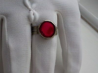 Tudor style red glass stoned ring  .metal detecting find.