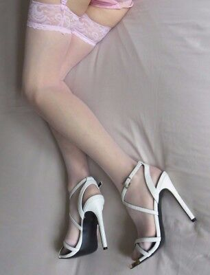 Stunning! - Pink Lace Suspender Belt, See-Through Panties, and Fine Stockings