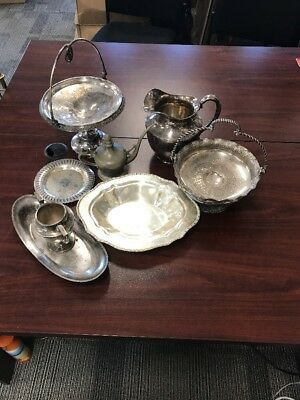 Lot Of 8 Silverplate Serving Bowls Trays Plates Cups Pitcher Reed Barton