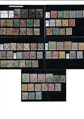 #754 Turkey 1863> early collection M/U on 5x cards & hinged on 10x leaves NICE!