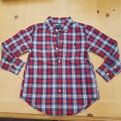 Ralph Lauren Boy's Red Checked Smart Christmas Shirt Size 4 to 5 Years