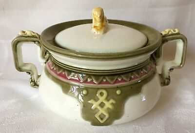 c1874 ANTIQUE WEDGWOOD EGYPTIAN SPHINX COVERED SUGAR BOWL, EARTHENWARE